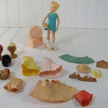 Vintage Twinkie Doll 29 Original Pieces Set - The Tiny Doll with the Big Wardrobe - Retro Mid Century Louis Marx & Co. Toy Marked 1965