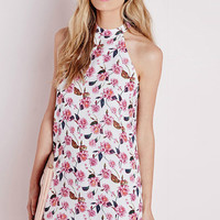 Floral Printed Sleeveless Crew Dress