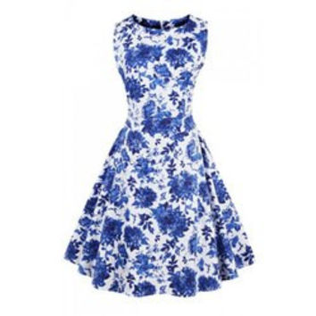 Vintage Style Jewel Neck Sleeveless Ruffled Dress For Women