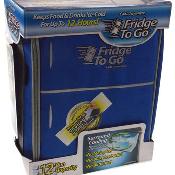 Mini Fridge To Go 12 Can All Day Cooler Light Blue Food Beverage Shoulder Strap