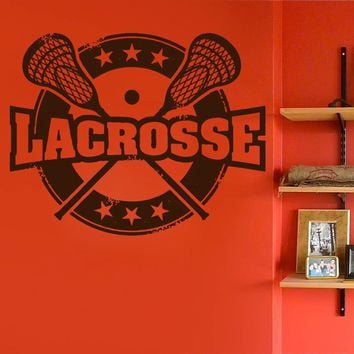 ik882 Wall Decal Sticker lacrosse helmet sport room teens kids teen bedroom