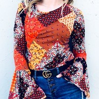 Bell Sleeve Boho Top - Orange