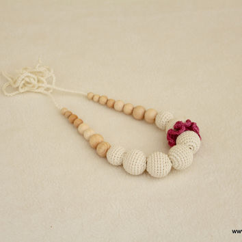 Off-white-lilac carnation - breastfeeding necklace