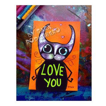 Emoticat  N.5 - Love you -orig. cat illustration on paper - Acrylic paint & watercolor - funny cats - pop art cat - Love