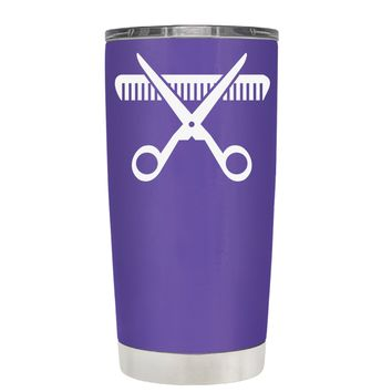 HairStylist Scissor and Comb Silhouette on Purple 20 oz Tumbler Cup