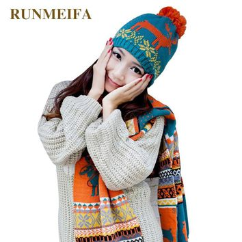 2018 New Fashion Women Scarf& Hat Sets Reindeer Pattern Winter Warm Knitted 2Pcs Unisex Female Thick Beanies Christmas Gifts