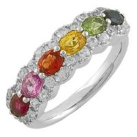 Fremada Sterling Silver Multi-colored Sapphire Ring | Overstock.com