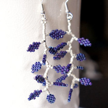 Matte Silver&Midnight Purple Delica Seed Bead Earrings, Branches With Leaves