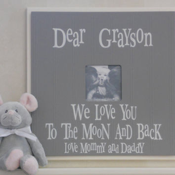 Gray Baby Boy Nursery - Love You To Them Moon - Personalized Name Frame - Custom Photo Frame Wall Decor