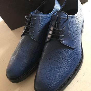 New $750 Gucci Men's Oxford Shoes Blue 11.5 ( 12.5  ) Italy