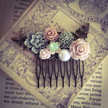 Pastel Color Wedding Comb Blush Pink Gray Mint Sage Green Romantic Bridal Hair Comb Leaf Floral Headpiece Soft Dreamy Vintage Style JW PM