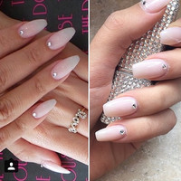 Natural pink nails with swarvoski crystals
