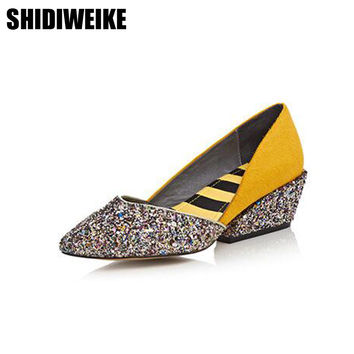 SHIDIWEIKE  women shoes 2017 pointed toe glitter shoes women wedge heels spring summer ladies shoes low heel yellow Bling z223