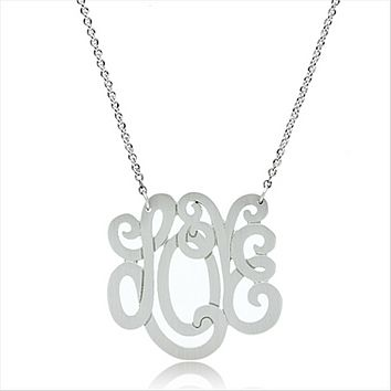 Script Love Monogram Necklace Pendant