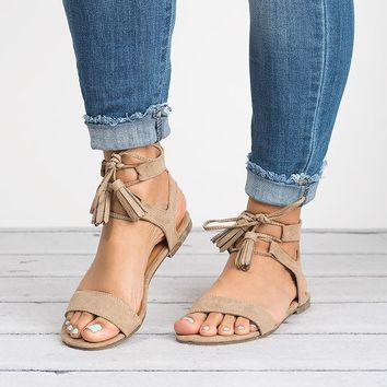Tassel Lace Up Sandals - Nude