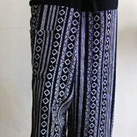 mens unisex black and white fishermans hill tribe pants free size 5C