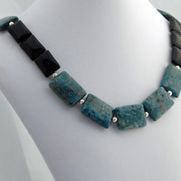 Teal & Obsidian Necklace - Statement Necklace - Strand Necklace