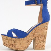 Suede Cut Out Ankle Strap Chunky Cork Heels | MakeMeChic.com