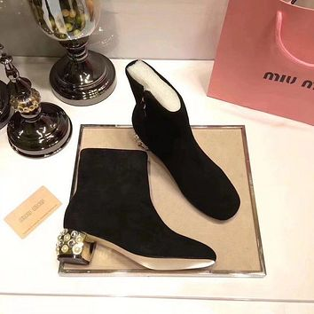 Prada Miu Miu Velvet Ankle Boots With Pearls Black
