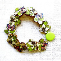 Flower and Butterfly Wooden Button Bracelet - Small