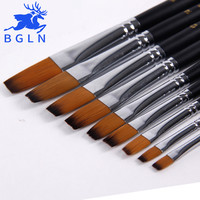 Bgln 9Pcs set Artist Paint Brush For Watercolor Acrylic Oil Art Face Painting Flat Long Handle Paint Brushes Art Supplies