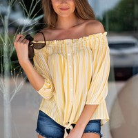 Spark Of Joy Off The Shoulder Ruffle Top : Yellow