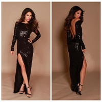 Black Slit Backless Sequined Long Sleeve Maxi Bodycon Dress