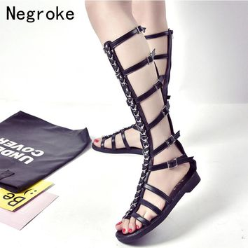 Summer Knee High Boots Women Gladiator Sandals Sexy Cut-outs Leather Strap Flat