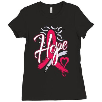 breast cancer awareness hope ribbon heart Ladies Fitted T-Shirt
