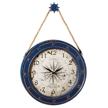 Large Hanging Wooden Compass Wall Clock with Ship Wheel Hook - 23-5/8-in