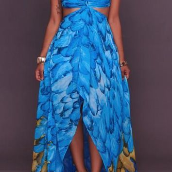 Blue Floral Print Irregular High-low Spaghetti Strap Club Maxi Dress