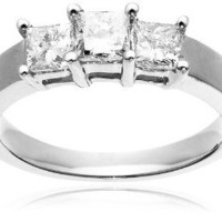 14k Gold Three-Stone Princess-Cut Diamond Ring (1 cttw, I-J Color, I1-I2 Clarity)