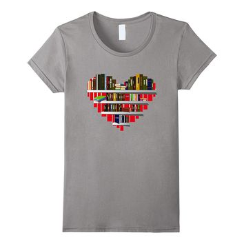 Book T-Shirt Reading Club Librarian Library Love Heart Tee