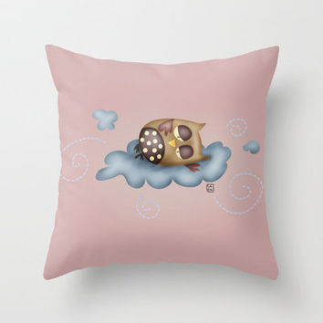 Owl {Sleepy guardian - pink} Throw Pillow by Carina Povarchik | Society6