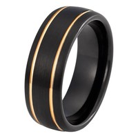 Black Rose Gold Wedding Band Ring Brushed Tungsten Carbide 8mm 18K Tungsten Ring Mens Wedding Band Man Rose Gold Ring Anniversary Matching Black Ring Double Groove