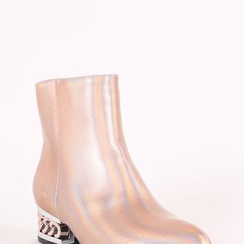 Holographic Accent Metallic Chain Booties