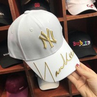 """""""New York Yankees"""" Unisex  Fashion Personality Letter Embroidery Flat Cap Baseball Cap Couple Casual Sun Hat"""