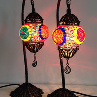 Set of Colorful Stylish Bohemian mosaic lamps with crafted copper base, Unique lamps, Night table lamps, Set of Swan Neck Turkish Ligting