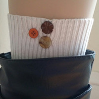 Upcycled boot cuff women's cream color with 3 buttons.