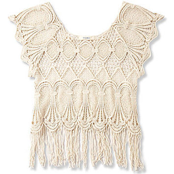 Freeway Crochet Fringe-Hem Top - Ivory