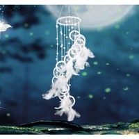 White Polycyclic Dreamcatcher Feather Pendant Wind Chime