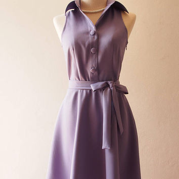 DOWNTOWN Dusty Purple Dress Shirt Dress Day to Night Korean Style Working Casual Dress Purple Bridesmaid Dress La La Land Style Dress
