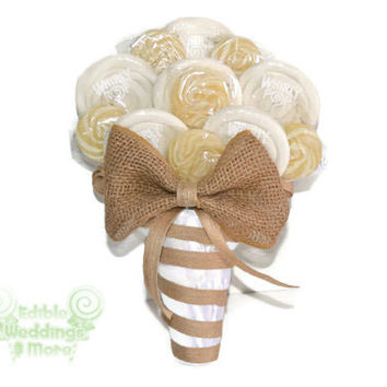 Rustic Lollipop Bouquet, White and Burlap, Bridal Bouquet, Candy Bouquet, Wedding Bouquet, White Wedding Bouquet, Burlap Wedding, Rustic
