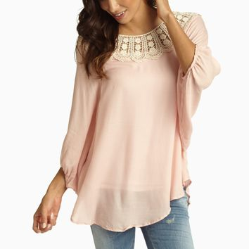 Pale Pink Crochet Neck Dolman Sleeve Blouse