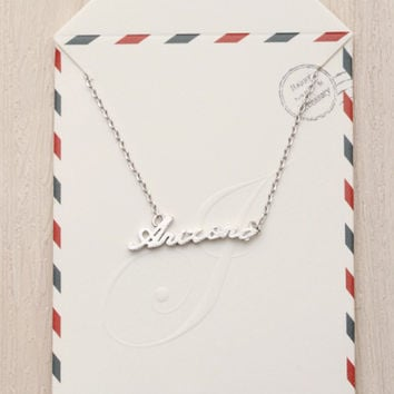 Arizona Text Necklace - Silver