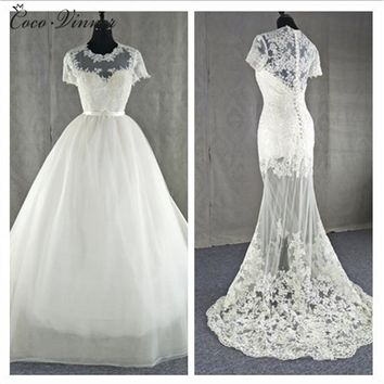 C.V New Style 2017 Two in One Wedding Dress Detachable Tail Lace Appliques Illusion Sexy Elegant Mermaid Weddding Gown W0077