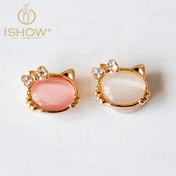 1pc Cute Little Cat Opal Alloy Home Button Sticker Mobile Phone Keypad Sticker for Iphone for Women