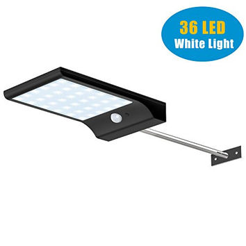 CREATIVE DESIGN 36 LED Outdoor Solar Motion Sensor Light, Solar Lights with Mounting Pole, Waterproof Security Patio Light -4 Working Modes Solar Wall Light(Black)