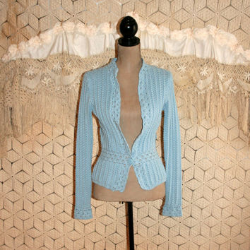 Crochet Boho Sweater Spring Cardigan Light Blue Cotton Boho Clothing Lacy Edwardian Sweater Gypsy Boho Clothing Small Medium Womens Clothing