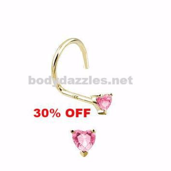 Pink Heart Prong CZ Nose Screw Ring 14 Karat Solid Yellow Gold 20ga Black Friday Cyber Monday